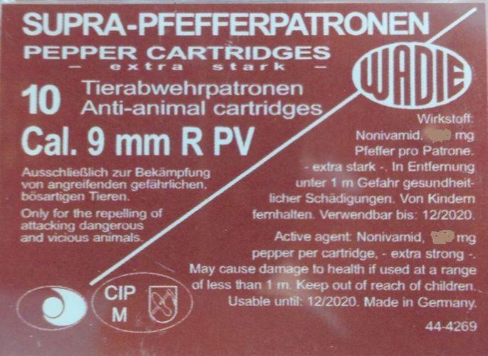 Plynový náboj 9 mm R PV Super pepř