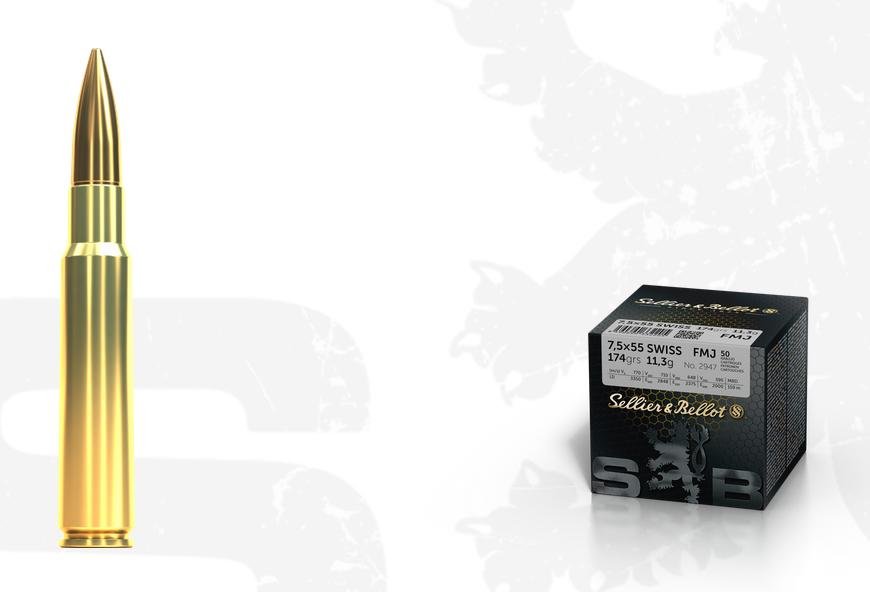 Kulový náboj S&B 7,5x55 Swiss FMJ sypačky